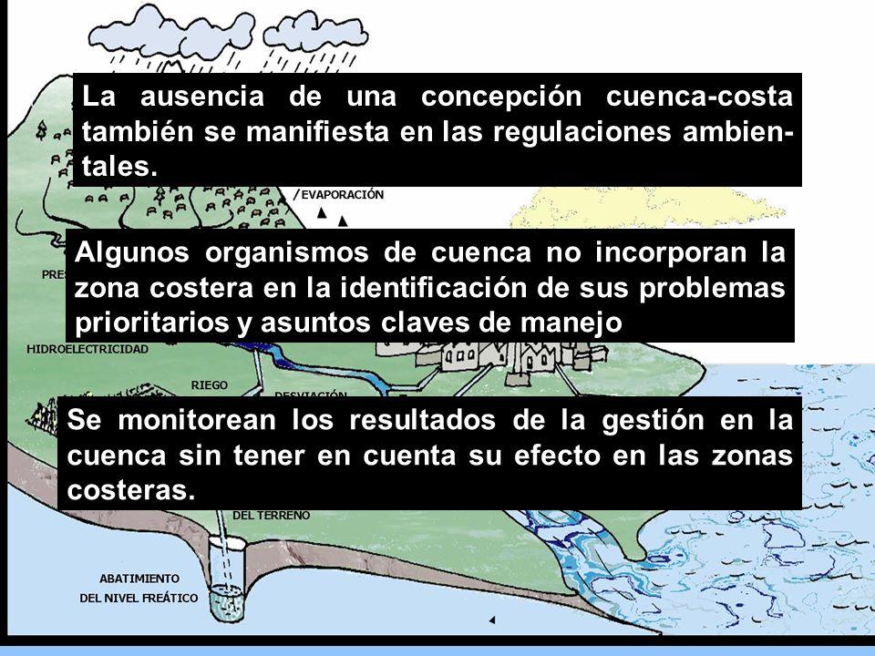 Se monitorean los resultados de la gestión en la cuenca sin tener en cuenta su efecto en las zonas costeras. La ausencia de una concepción cuenca-cost