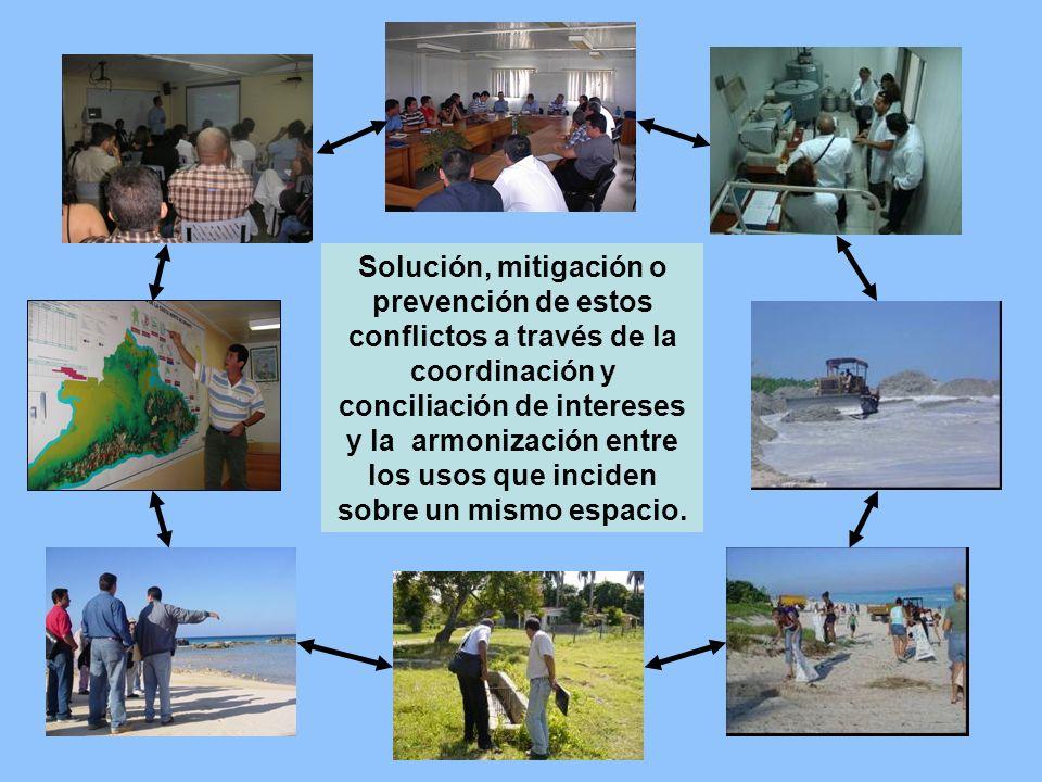 Solución, mitigación o prevención de estos conflictos a través de la coordinación y conciliación de intereses y la armonización entre los usos que inc