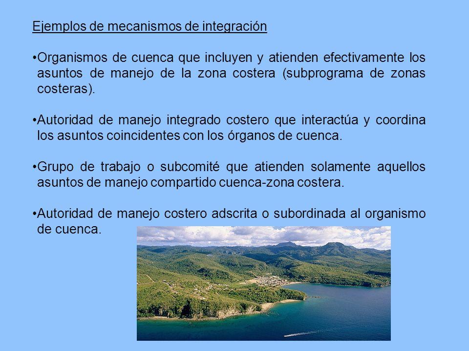 Ejemplos de mecanismos de integración Organismos de cuenca que incluyen y atienden efectivamente los asuntos de manejo de la zona costera (subprograma