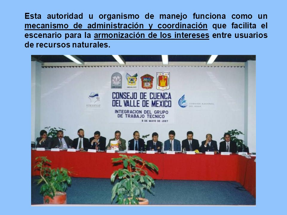 Esta autoridad u organismo de manejo funciona como un mecanismo de administración y coordinación que facilita el escenario para la armonización de los