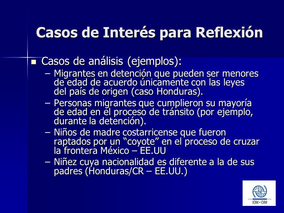 Casos de Interés para Reflexión Casos de análisis (ejemplos): Casos de análisis (ejemplos): –Migrantes en detención que pueden ser menores de edad de acuerdo únicamente con las leyes del país de origen (caso Honduras).