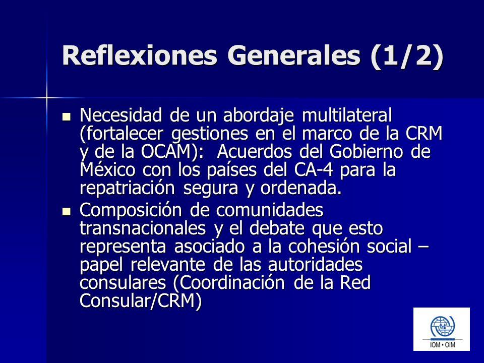 Reflexiones Generales (1/2) Necesidad de un abordaje multilateral (fortalecer gestiones en el marco de la CRM y de la OCAM): Acuerdos del Gobierno de México con los países del CA-4 para la repatriación segura y ordenada.
