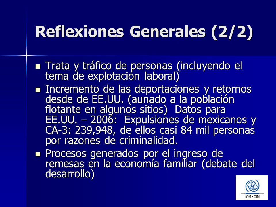 Reflexiones Generales (2/2) Trata y tráfico de personas (incluyendo el tema de explotación laboral) Trata y tráfico de personas (incluyendo el tema de explotación laboral) Incremento de las deportaciones y retornos desde de EE.UU.