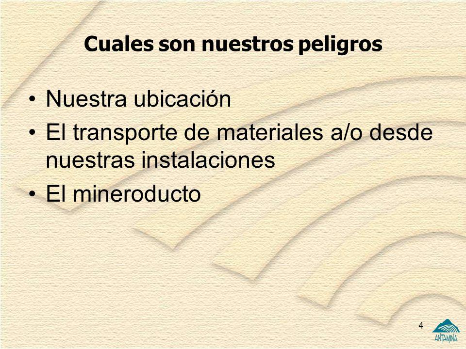 4 Cuales son nuestros peligros Nuestra ubicación El transporte de materiales a/o desde nuestras instalaciones El mineroducto