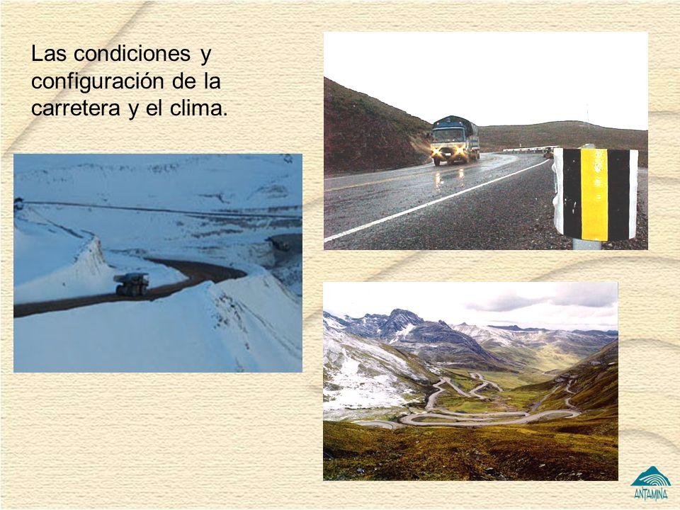 7 Las condiciones y configuración de la carretera y el clima.