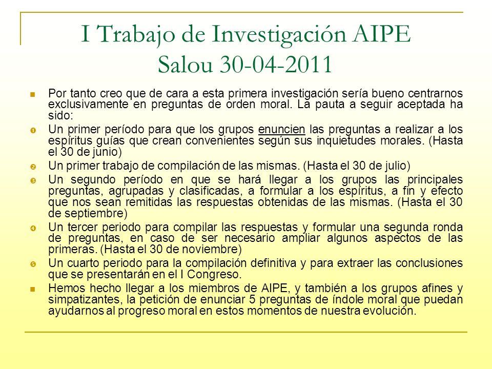 I Trabajo de Investigación AIPE Salou 30-04-2011