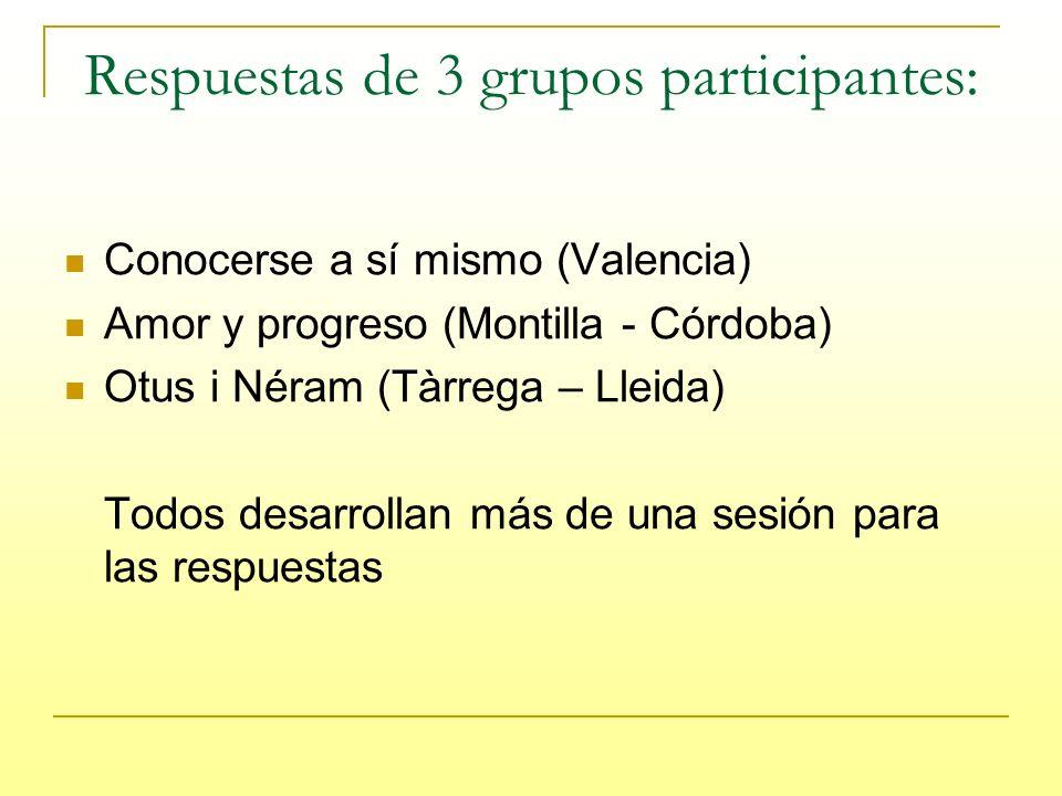 Respuestas de 3 grupos participantes: Conocerse a sí mismo (Valencia) Amor y progreso (Montilla - Córdoba) Otus i Néram (Tàrrega – Lleida) Todos desarrollan más de una sesión para las respuestas