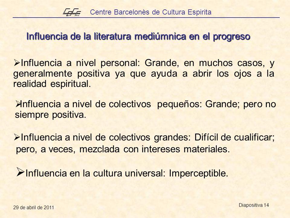 Centre Barcelonès de Cultura Espirita 29 de abril de 2011 Diapositiva 14 Influencia en la cultura universal: Imperceptible.