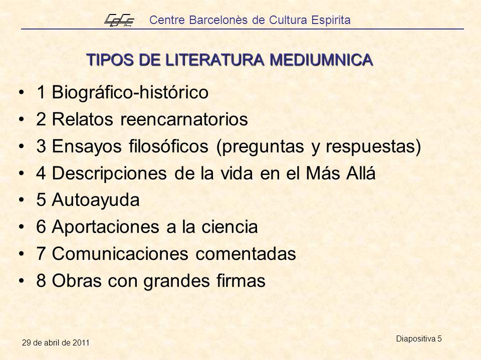 Centre Barcelonès de Cultura Espirita 29 de abril de 2011 Diapositiva 5 TIPOS DE LITERATURA MEDIUMNICA 1 Biográfico-histórico 2 Relatos reencarnatorios 3 Ensayos filosóficos (preguntas y respuestas) 4 Descripciones de la vida en el Más Allá 5 Autoayuda 6 Aportaciones a la ciencia 7 Comunicaciones comentadas 8 Obras con grandes firmas