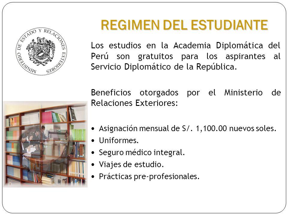Los estudios en la Academia Diplomática del Perú son gratuitos para los aspirantes al Servicio Diplomático de la República. Beneficios otorgados por e
