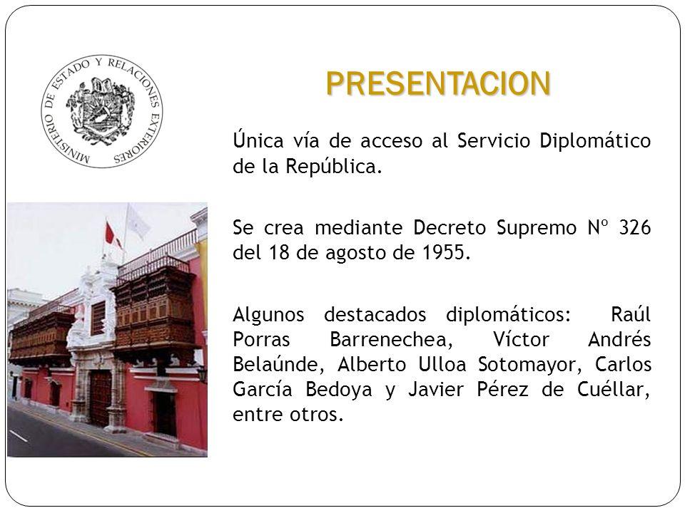 Única vía de acceso al Servicio Diplomático de la República. Se crea mediante Decreto Supremo Nº 326 del 18 de agosto de 1955. Algunos destacados dipl