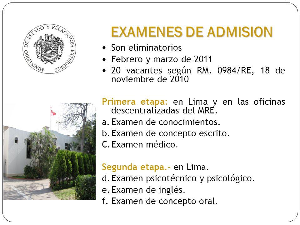 Son eliminatorios Febrero y marzo de 2011 20 vacantes según RM. 0984/RE, 18 de noviembre de 2010 Primera etapa: en Lima y en las oficinas descentraliz