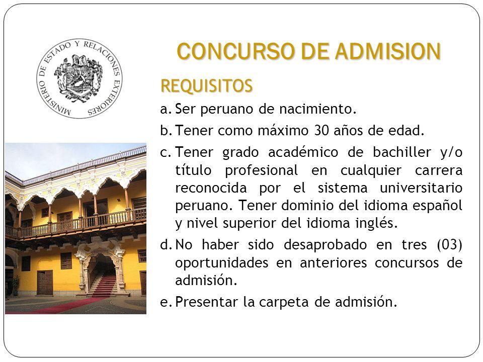 REQUISITOS a.Ser peruano de nacimiento. b.Tener como máximo 30 años de edad. c.Tener grado académico de bachiller y/o título profesional en cualquier