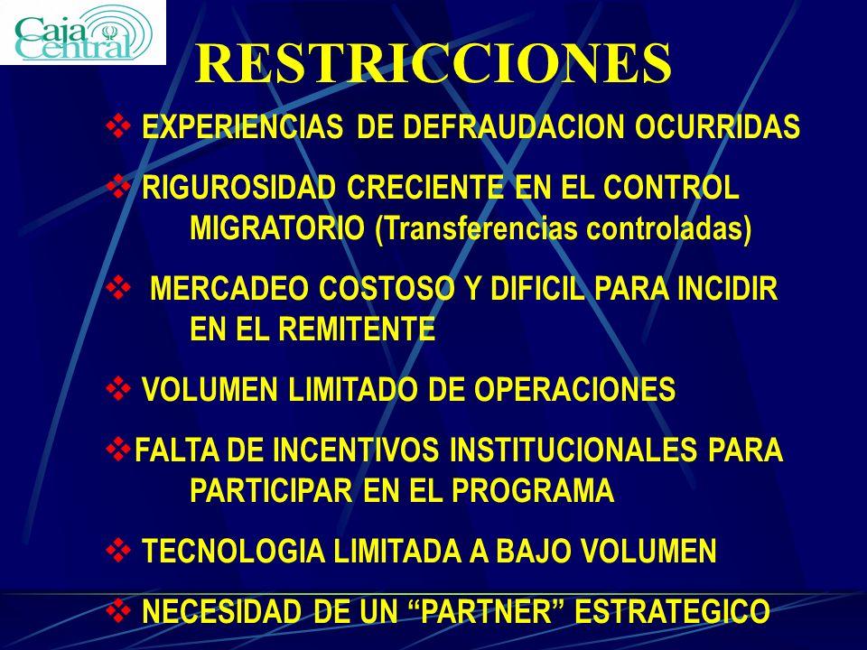 RESTRICCIONES v EXPERIENCIAS DE DEFRAUDACION OCURRIDAS v RIGUROSIDAD CRECIENTE EN EL CONTROL MIGRATORIO (Transferencias controladas) v MERCADEO COSTOS
