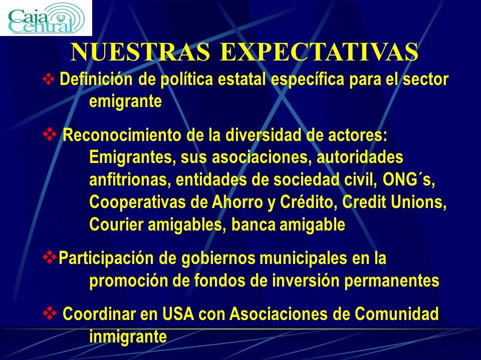 NUESTRAS EXPECTATIVAS v Definición de política estatal específica para el sector emigrante v Reconocimiento de la diversidad de actores: Emigrantes, s