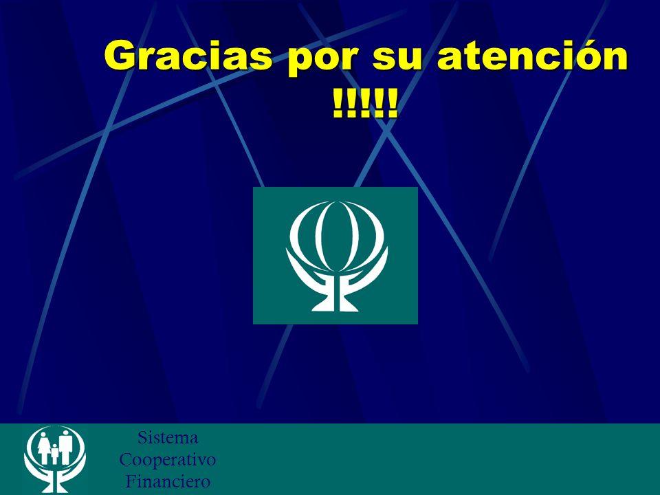 Sistema Cooperativo Financiero Gracias por su atención !!!!!