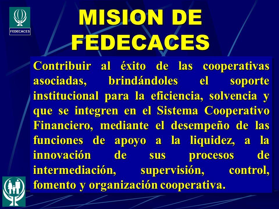 FEDECACES MISION DE FEDECACES Contribuir al éxito de las cooperativas asociadas, brindándoles el soporte institucional para la eficiencia, solvencia y