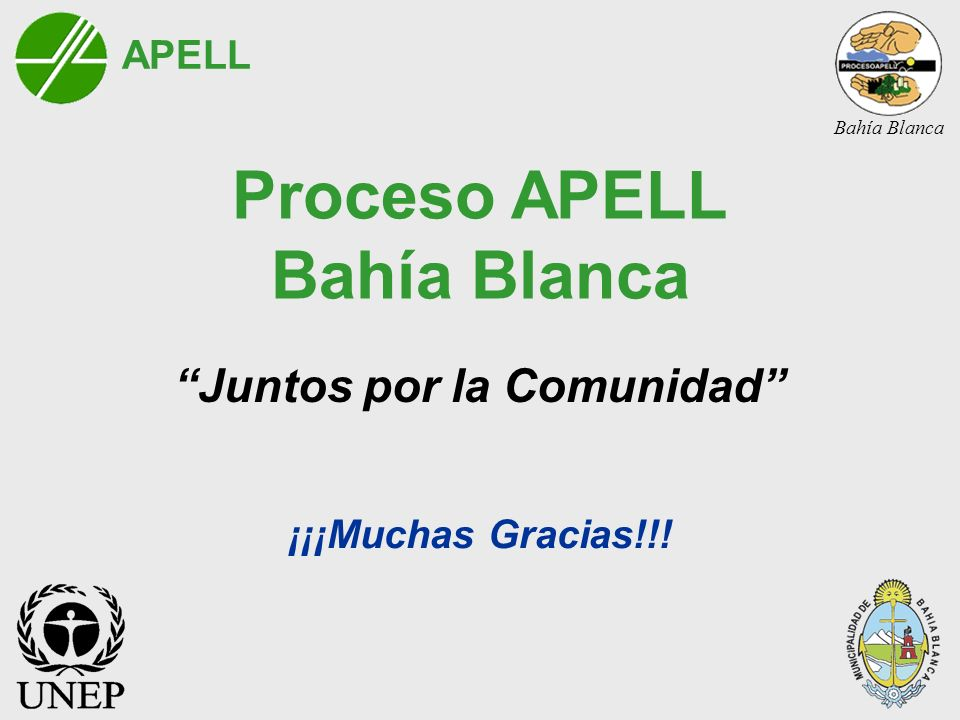 Proceso APELL Bahía Blanca Juntos por la Comunidad ¡¡¡Muchas Gracias!!! APELL Bahía Blanca