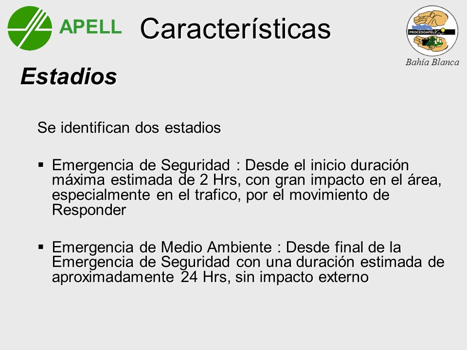 APELL Bahía Blanca Características Estadios Estadios Se identifican dos estadios Emergencia de Seguridad : Desde el inicio duración máxima estimada de