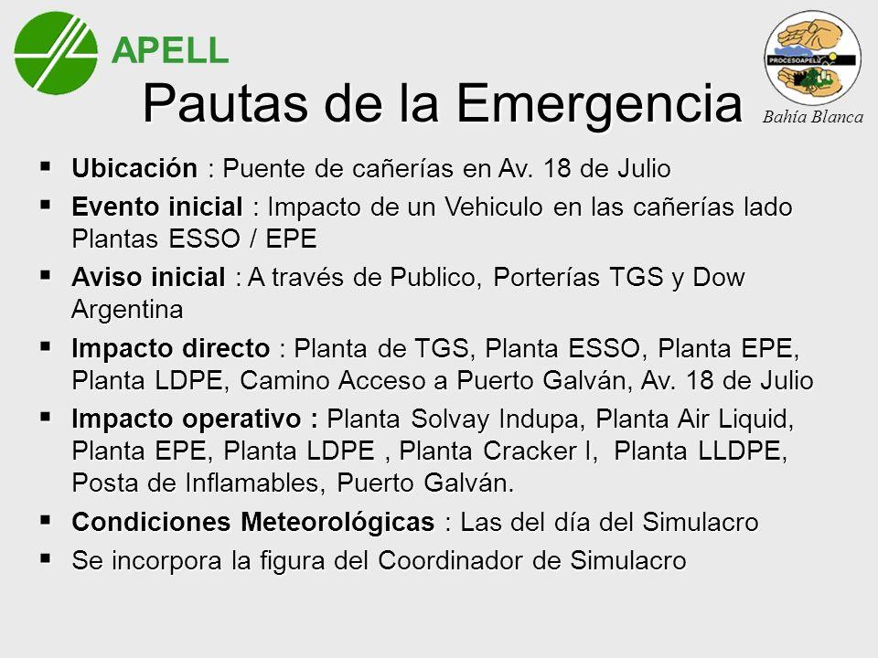 APELL Bahía Blanca Pautas de la Emergencia Ubicación : Puente de cañerías en Av. 18 de Julio Ubicación : Puente de cañerías en Av. 18 de Julio Evento