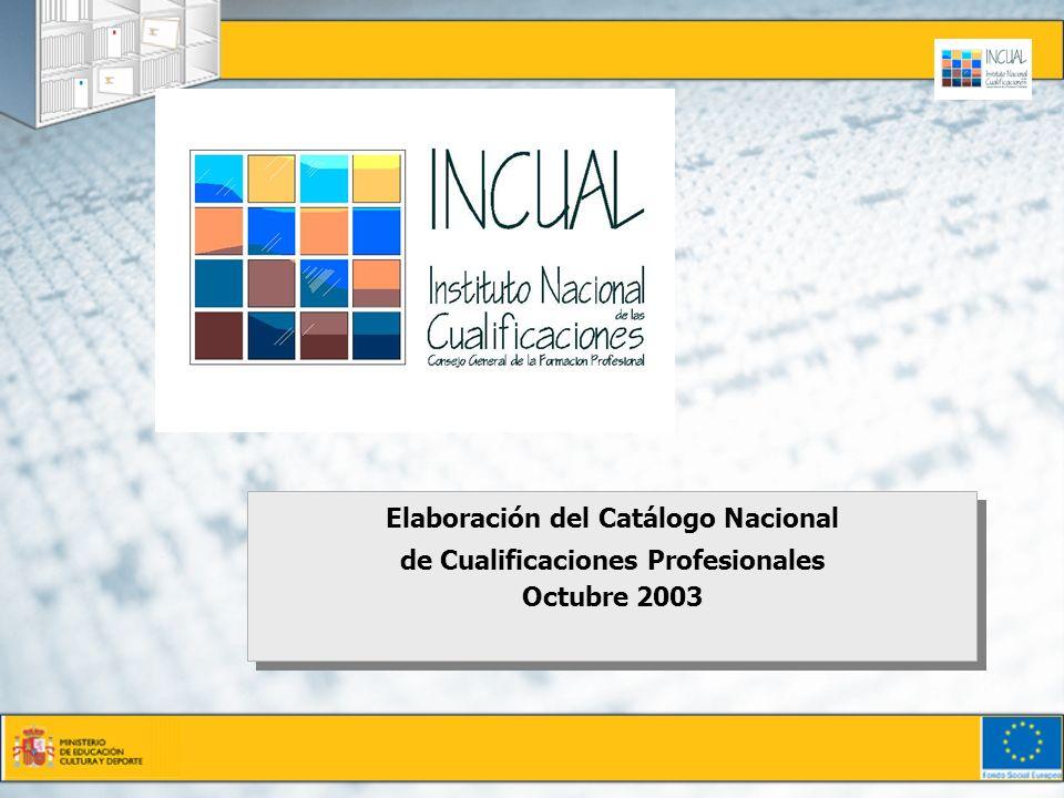 Elaboración del Catálogo Nacional de Cualificaciones Profesionales Octubre 2003 Elaboración del Catálogo Nacional de Cualificaciones Profesionales Oct