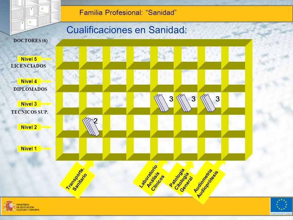 Cualificaciones en Sanidad: Familia Profesional: Sanidad Nivel 5 Nivel 4 Nivel 3 Nivel 2 Nivel 1 Audiometría Audioprótesis Patología Citología General