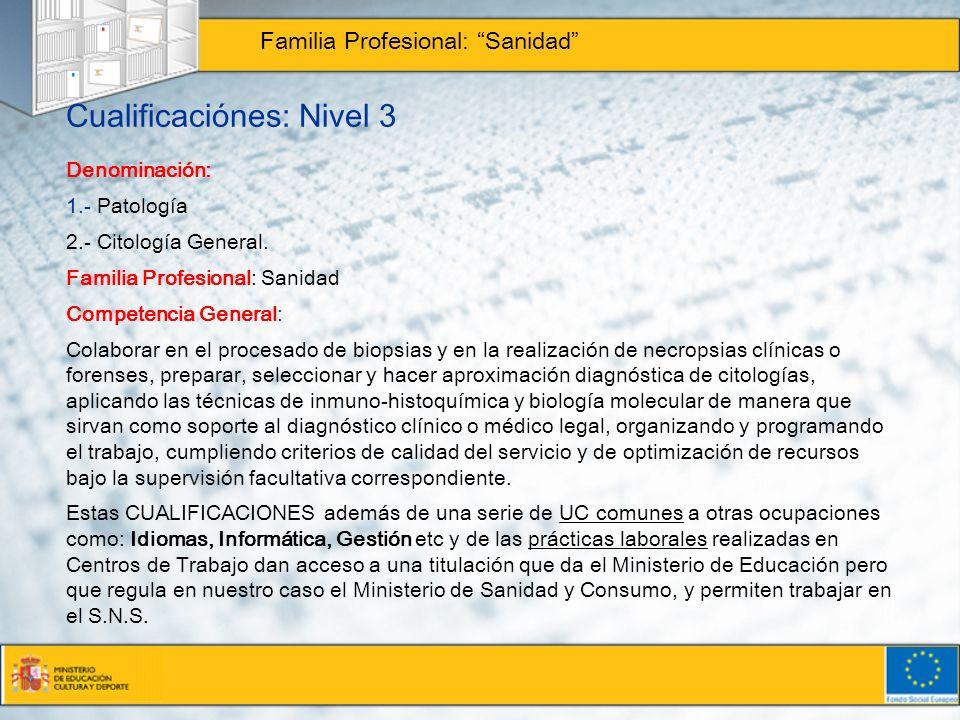 Cualificaciónes: Nivel 3 Familia Profesional: Sanidad Denominación: 1.- Patología 2.- Citología General. Familia Profesional: Sanidad Competencia Gene