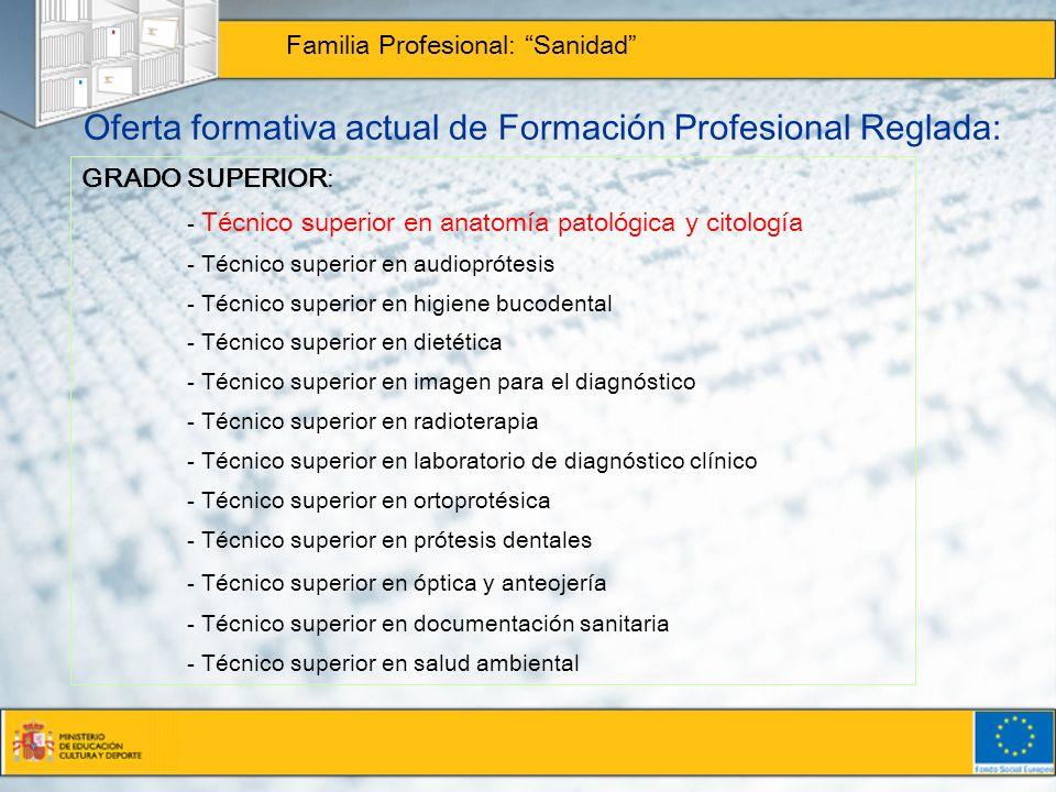 Oferta formativa actual de Formación Profesional Reglada: Familia Profesional: Sanidad GRADO SUPERIOR: - Técnico superior en anatomía patológica y cit