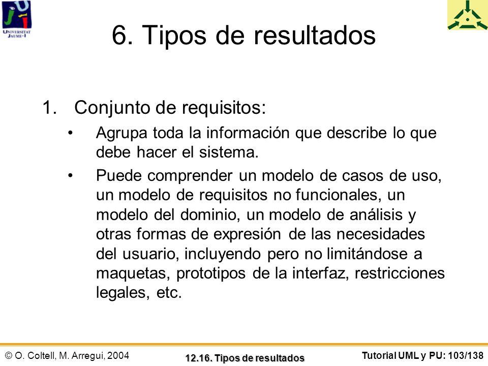 © O. Coltell, M. Arregui, 2004Tutorial UML y PU: 103/138 6. Tipos de resultados 1.Conjunto de requisitos: Agrupa toda la información que describe lo q