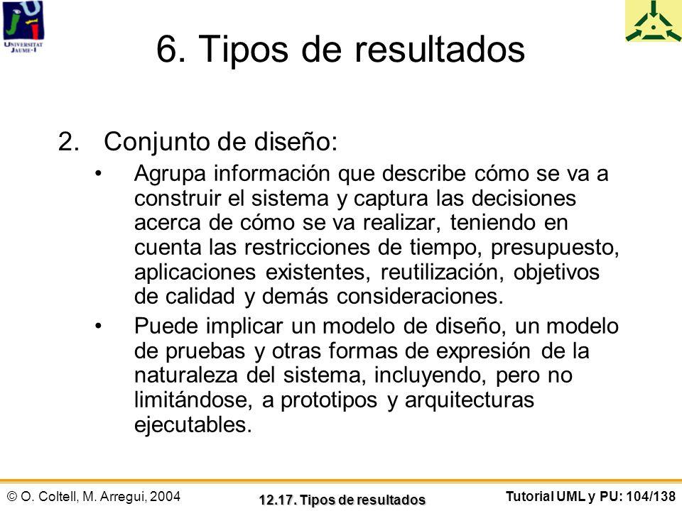 © O. Coltell, M. Arregui, 2004Tutorial UML y PU: 104/138 6. Tipos de resultados 2.Conjunto de diseño: Agrupa información que describe cómo se va a con