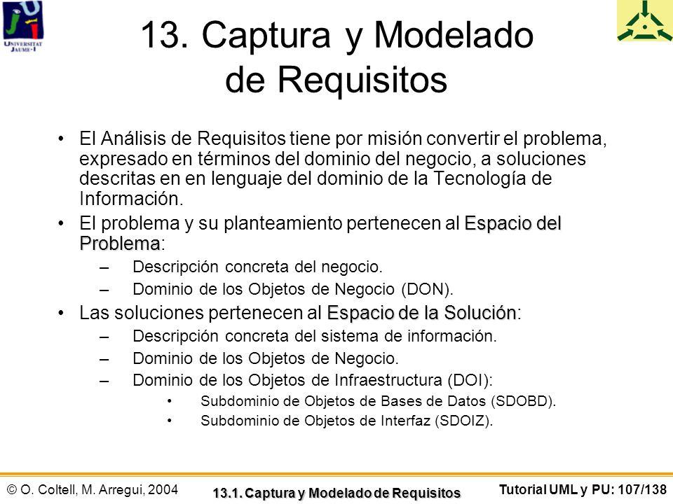 © O. Coltell, M. Arregui, 2004Tutorial UML y PU: 107/138 13. Captura y Modelado de Requisitos El Análisis de Requisitos tiene por misión convertir el