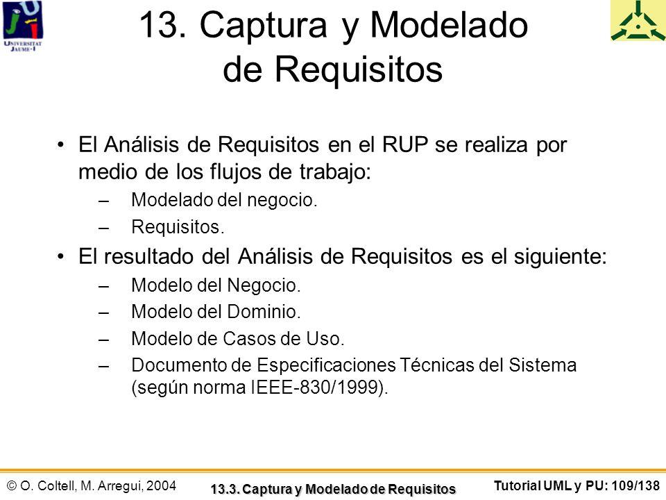 © O. Coltell, M. Arregui, 2004Tutorial UML y PU: 109/138 13. Captura y Modelado de Requisitos El Análisis de Requisitos en el RUP se realiza por medio