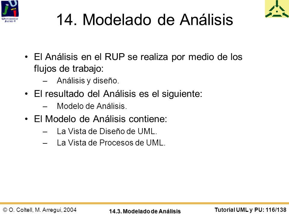 © O. Coltell, M. Arregui, 2004Tutorial UML y PU: 116/138 14. Modelado de Análisis El Análisis en el RUP se realiza por medio de los flujos de trabajo: