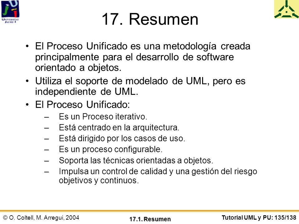 © O. Coltell, M. Arregui, 2004Tutorial UML y PU: 135/138 17. Resumen El Proceso Unificado es una metodología creada principalmente para el desarrollo