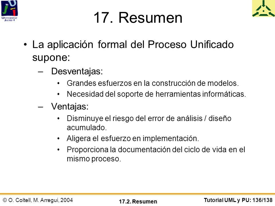 © O. Coltell, M. Arregui, 2004Tutorial UML y PU: 136/138 17. Resumen La aplicación formal del Proceso Unificado supone: –Desventajas: Grandes esfuerzo