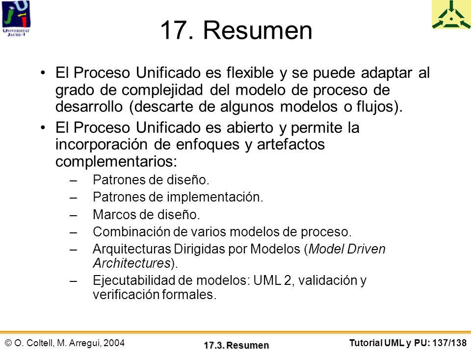 © O. Coltell, M. Arregui, 2004Tutorial UML y PU: 137/138 17. Resumen El Proceso Unificado es flexible y se puede adaptar al grado de complejidad del m
