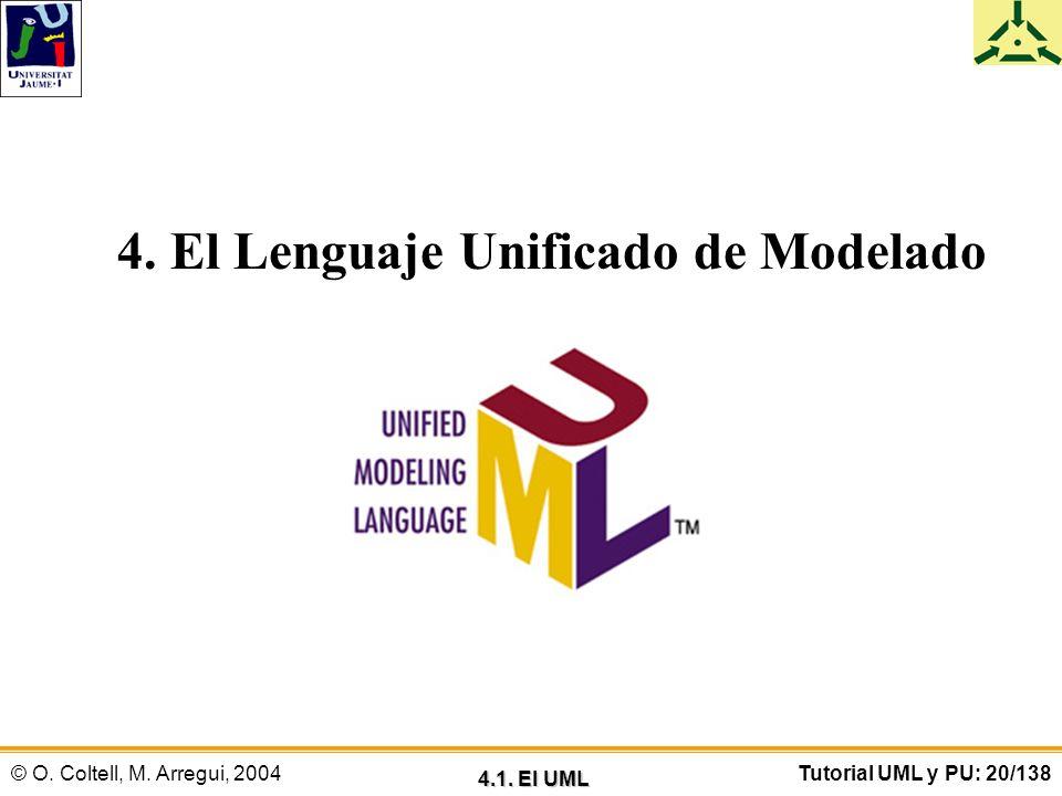 © O. Coltell, M. Arregui, 2004Tutorial UML y PU: 20/138 4. El Lenguaje Unificado de Modelado 4.1. El UML
