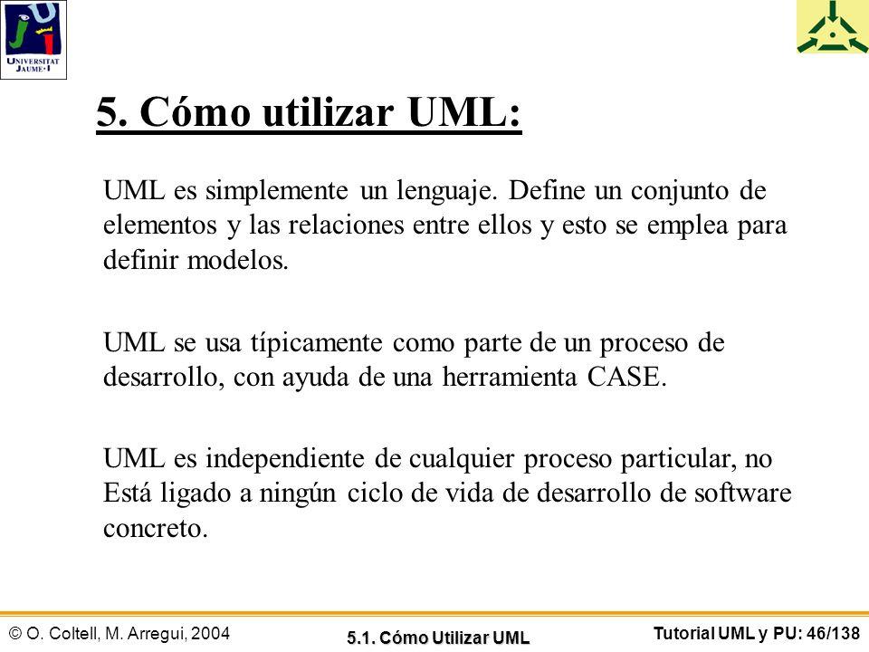 © O. Coltell, M. Arregui, 2004Tutorial UML y PU: 46/138 5. Cómo utilizar UML: UML es simplemente un lenguaje. Define un conjunto de elementos y las re