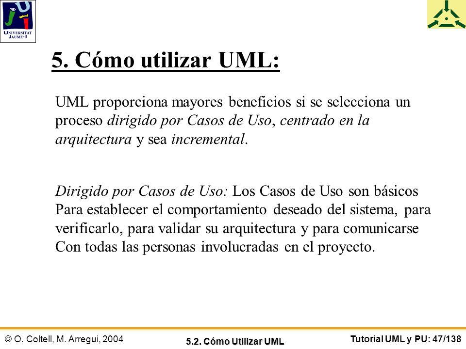 © O. Coltell, M. Arregui, 2004Tutorial UML y PU: 47/138 UML proporciona mayores beneficios si se selecciona un proceso dirigido por Casos de Uso, cent