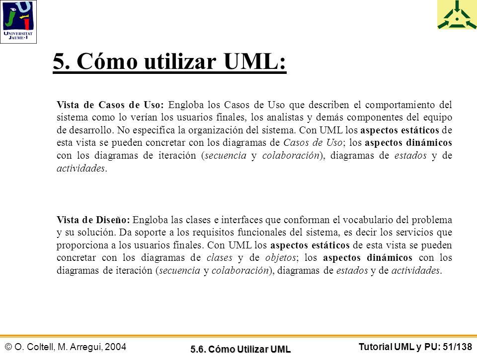 © O. Coltell, M. Arregui, 2004Tutorial UML y PU: 51/138 Vista de Casos de Uso: Engloba los Casos de Uso que describen el comportamiento del sistema co