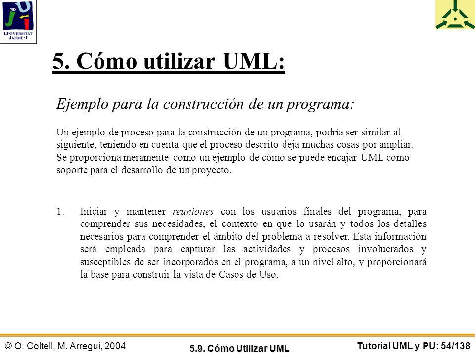 © O. Coltell, M. Arregui, 2004Tutorial UML y PU: 54/138 Ejemplo para la construcción de un programa: Un ejemplo de proceso para la construcción de un
