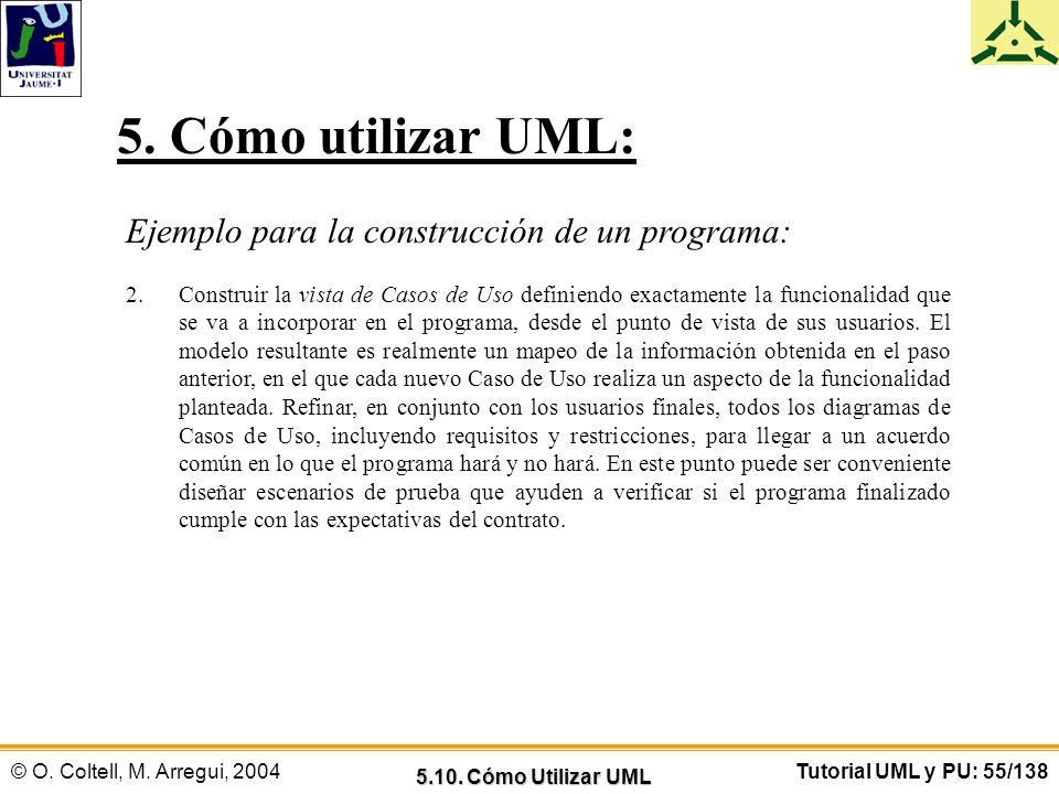© O. Coltell, M. Arregui, 2004Tutorial UML y PU: 55/138 Ejemplo para la construcción de un programa: 2.Construir la vista de Casos de Uso definiendo e