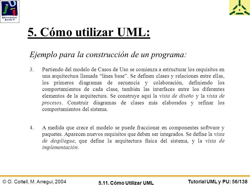 © O. Coltell, M. Arregui, 2004Tutorial UML y PU: 56/138 Ejemplo para la construcción de un programa: 3.Partiendo del modelo de Casos de Uso se comienz