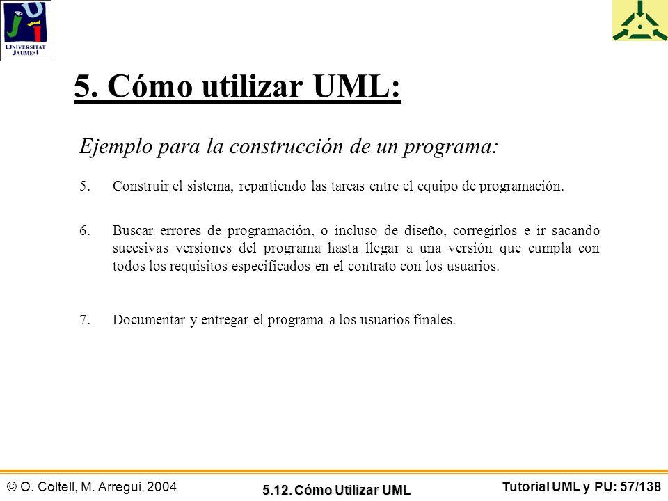 © O. Coltell, M. Arregui, 2004Tutorial UML y PU: 57/138 Ejemplo para la construcción de un programa: 5.Construir el sistema, repartiendo las tareas en