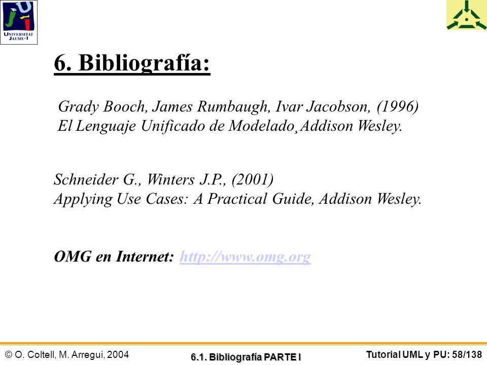 © O. Coltell, M. Arregui, 2004Tutorial UML y PU: 58/138 6. Bibliografía: Grady Booch, James Rumbaugh, Ivar Jacobson, (1996) El Lenguaje Unificado de M