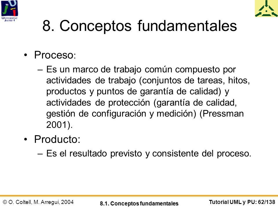 © O. Coltell, M. Arregui, 2004Tutorial UML y PU: 62/138 8. Conceptos fundamentales Proceso : –Es un marco de trabajo común compuesto por actividades d
