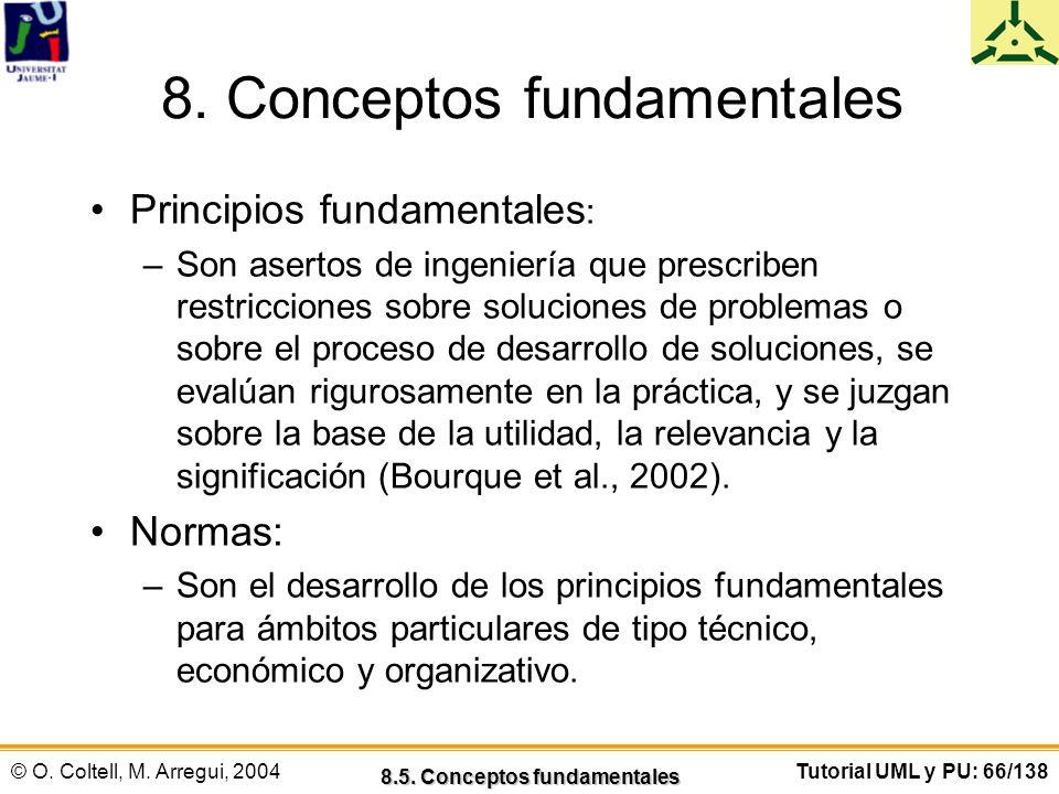 © O. Coltell, M. Arregui, 2004Tutorial UML y PU: 66/138 8. Conceptos fundamentales Principios fundamentales : –Son asertos de ingeniería que prescribe