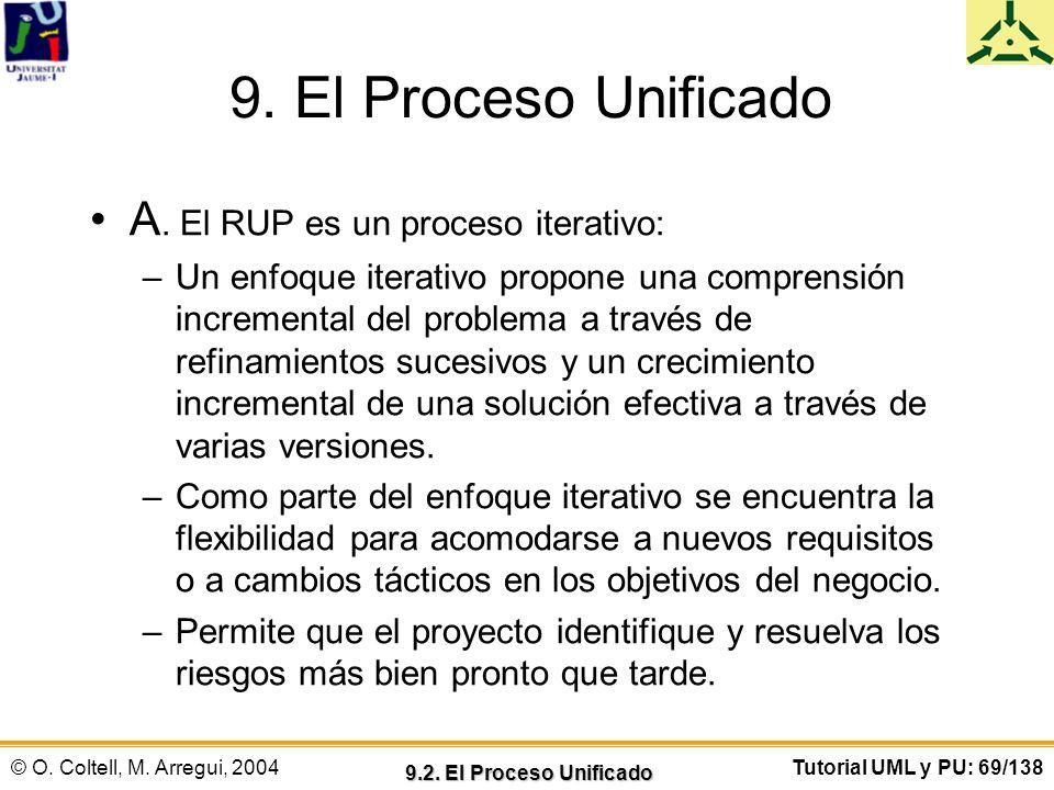 © O. Coltell, M. Arregui, 2004Tutorial UML y PU: 69/138 9. El Proceso Unificado A. El RUP es un proceso iterativo: –Un enfoque iterativo propone una c