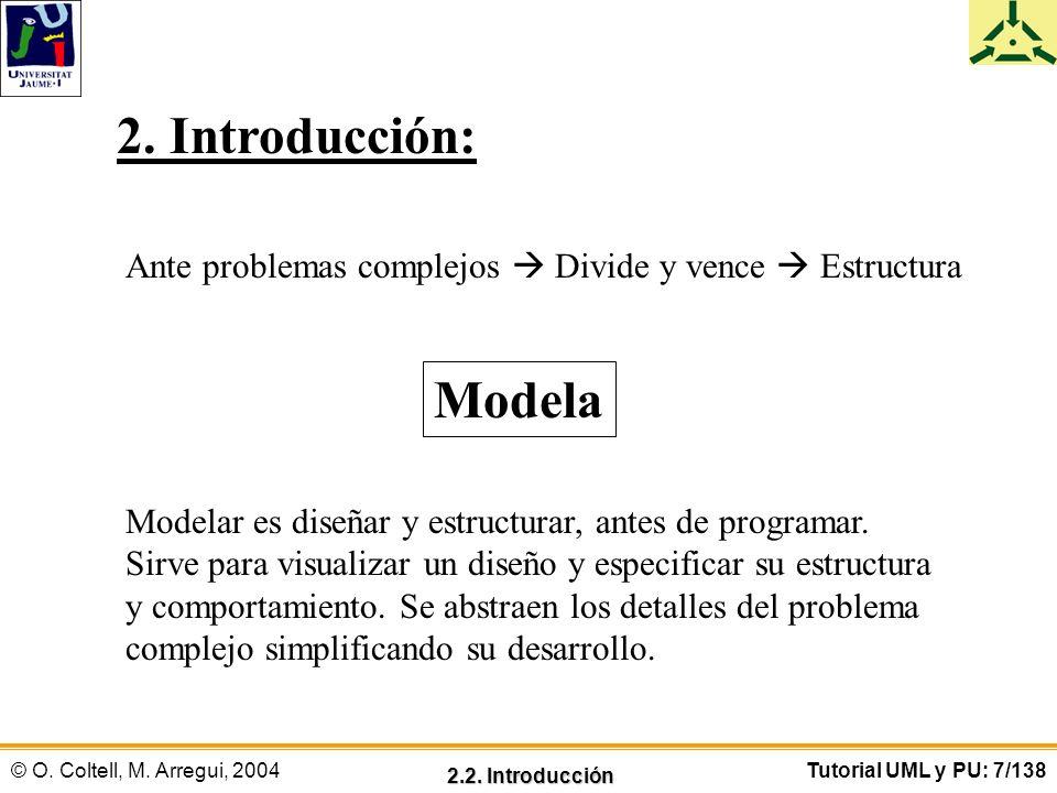 © O. Coltell, M. Arregui, 2004Tutorial UML y PU: 7/138 2. Introducción: Ante problemas complejos Divide y vence Estructura Modela Modelar es diseñar y