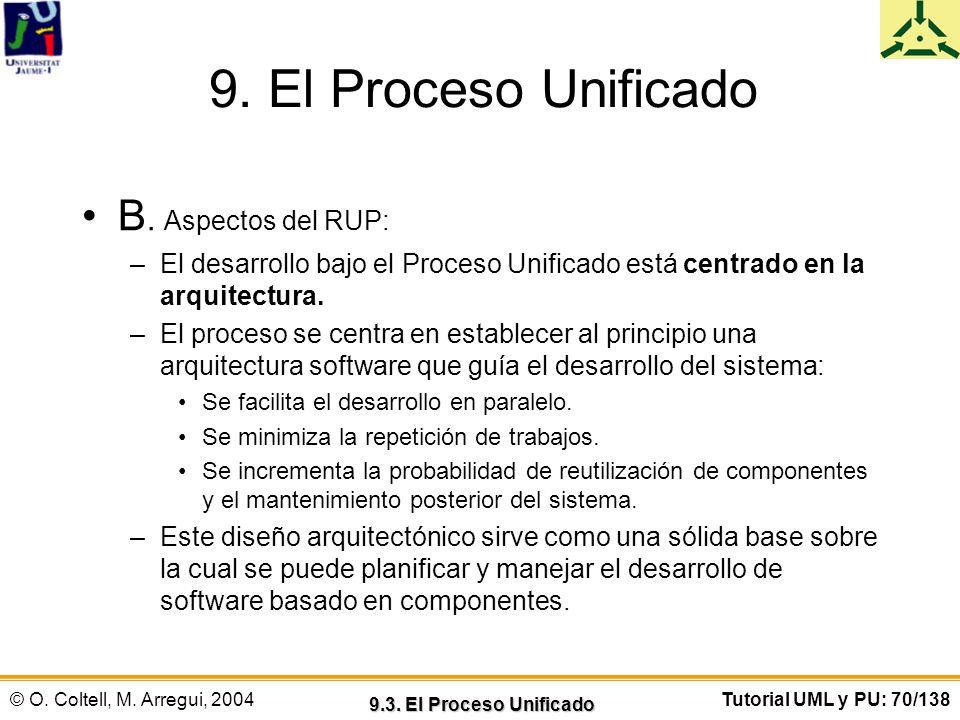 © O. Coltell, M. Arregui, 2004Tutorial UML y PU: 70/138 9. El Proceso Unificado B. Aspectos del RUP: –El desarrollo bajo el Proceso Unificado está cen